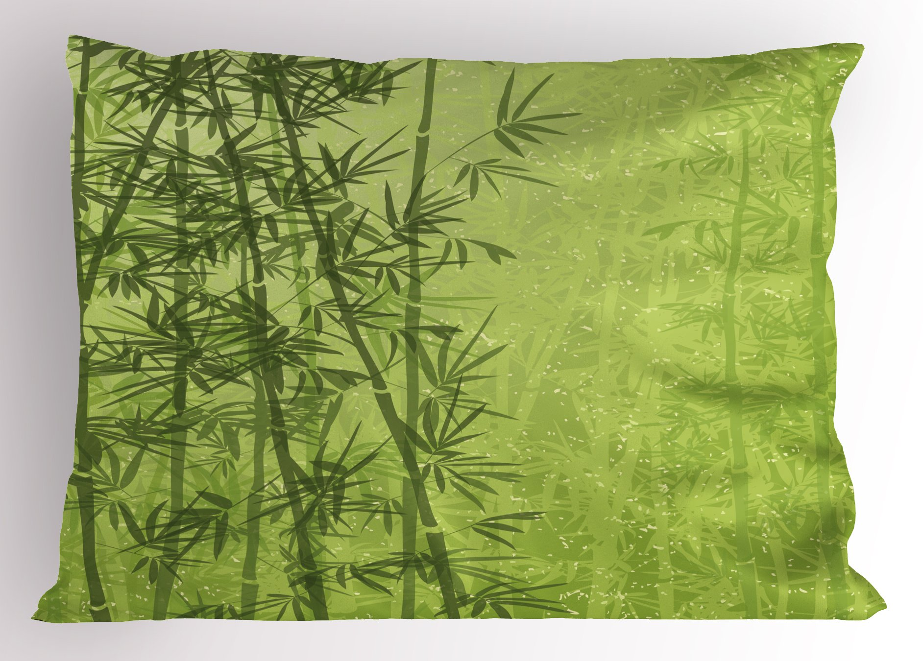 Ambesonne Exotic Pillow Sham, Tropical Forest Rainforest Jungle Paradise Ecology Feng Shui Spa, Decorative Standard Queen Size Printed Pillowcase, 30 X 20 inches, Pistachio Green Fern Green