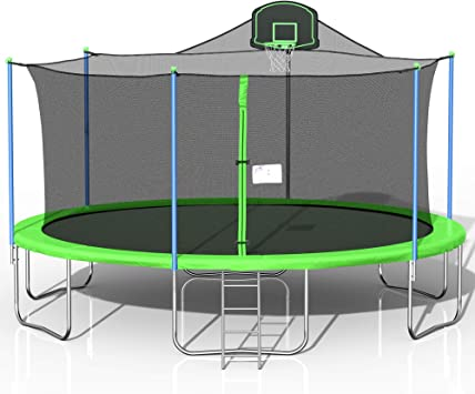 EDGHHG 16 FT Basketball Trampoline Combo,Home Trampoline,Outdoor Bouncing Bed for Children,Fitness Trampoline,Outdoor Large-Scale Trampoline with Net for Kids and Adults,Trampoline for Family School