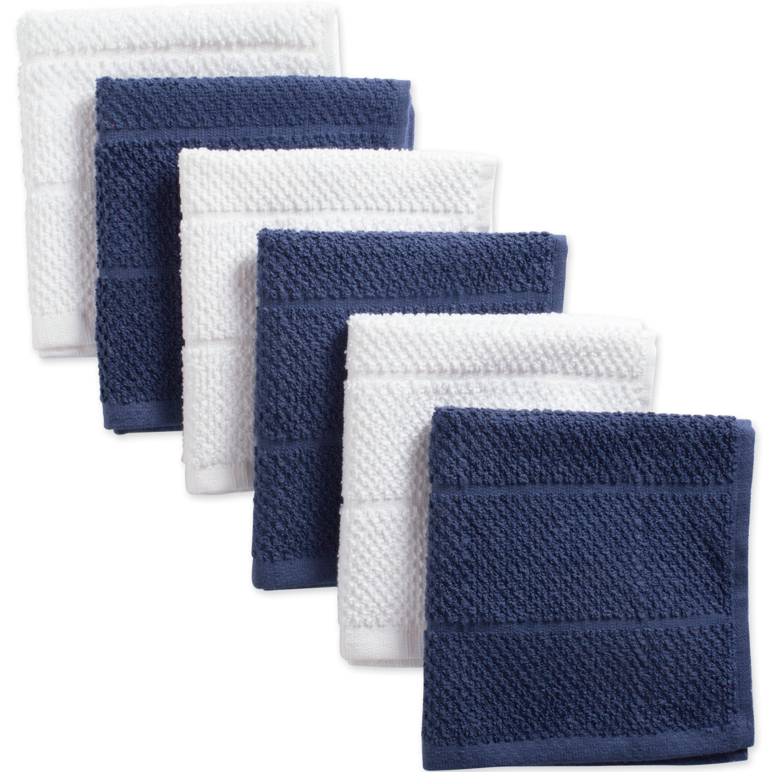 Ultra-Absorbent Cleaning Drying Kitchen Towels-Barn Red//White 12 x 12 Set of 6 CAMZ38315 DII Cotton Luxury Chef Terry Dish Cloths 12 x 12 Set of 6