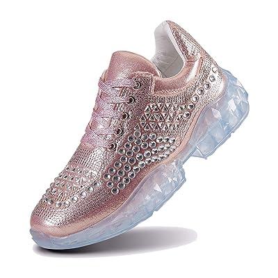 CHUI Women Walking Sneakers Crystal Rhinestone Platform Fashion Casual Shoes   Fashion Sneakers