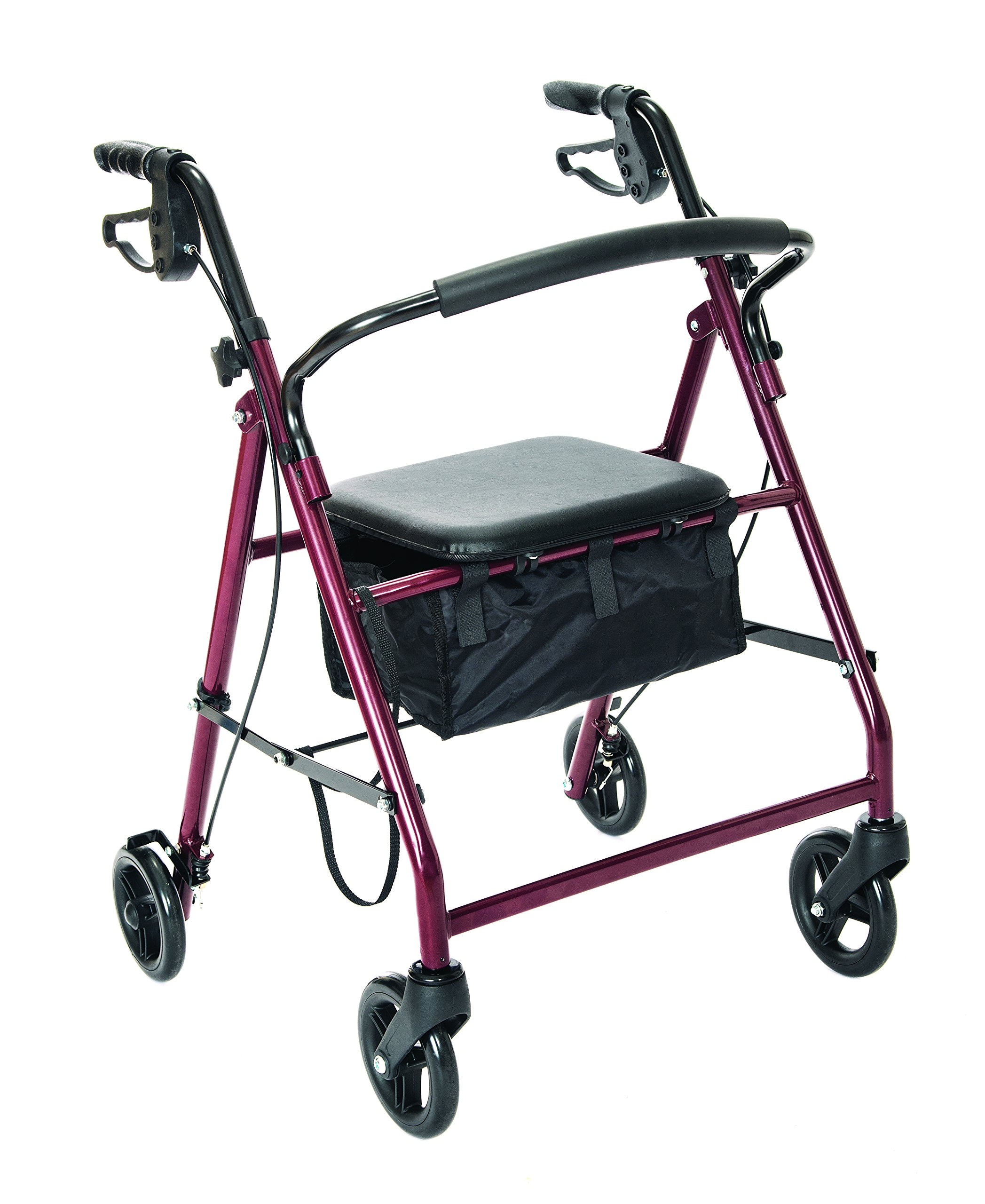 Essential Medical Supply Essential Rollator with Loop Brakes and Wheels, Red