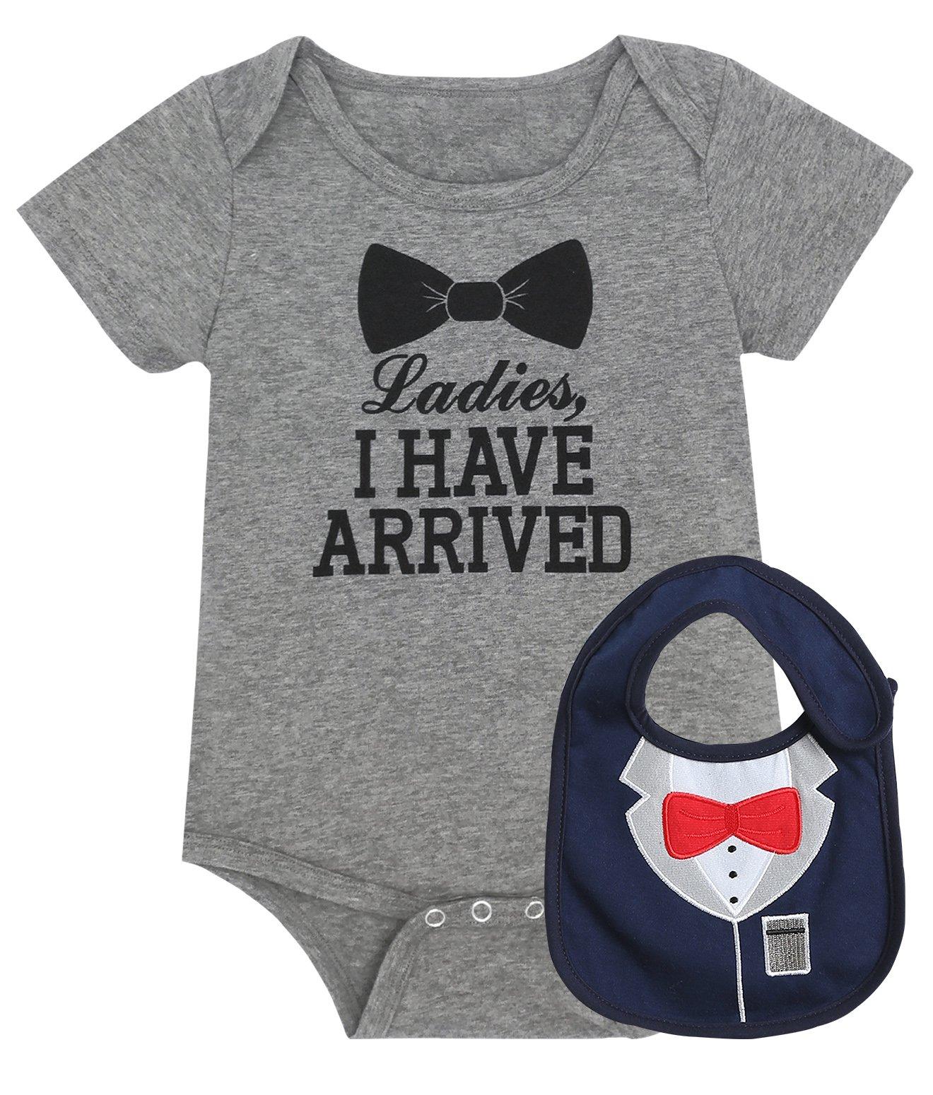 iCrazy Baby Boys' Funny Gentleman bodysuit with Bib (3-6 Months, Gray)