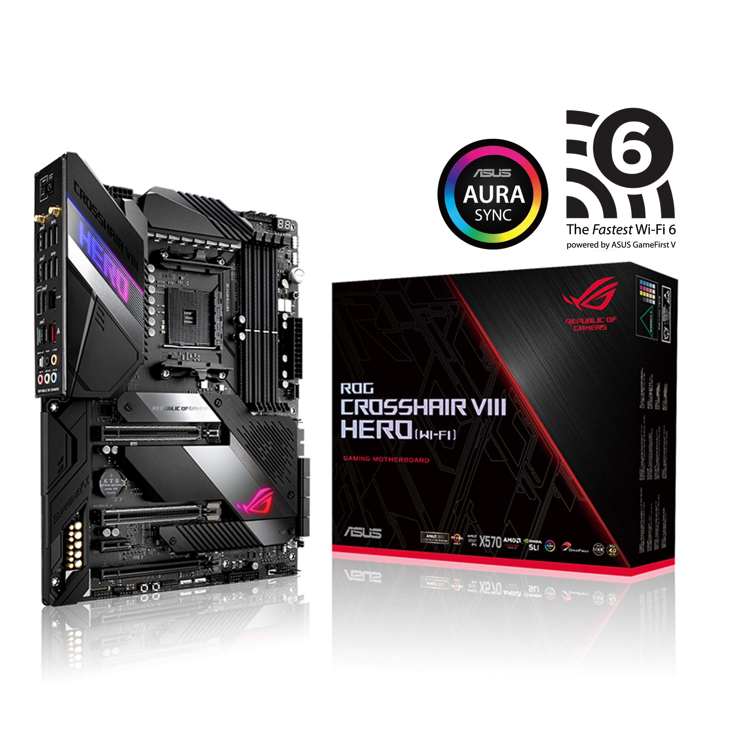 ASUS ROG X570 Crosshair VIII Hero (Wi-Fi) ATX Motherboard with PCIe 4.0, on-Board WiFi 6 (802.11Ax), 2.5 Gbps LAN, USB 3.2, SATA, M.2, Node and Aura Sync RGB Lighting by ASUS