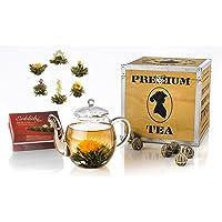 Creano Theebloemen Mix cadeauset in een edele houten doos met glazen kan 0,5l & 6 verschillende soorten ErblühTee (witte…
