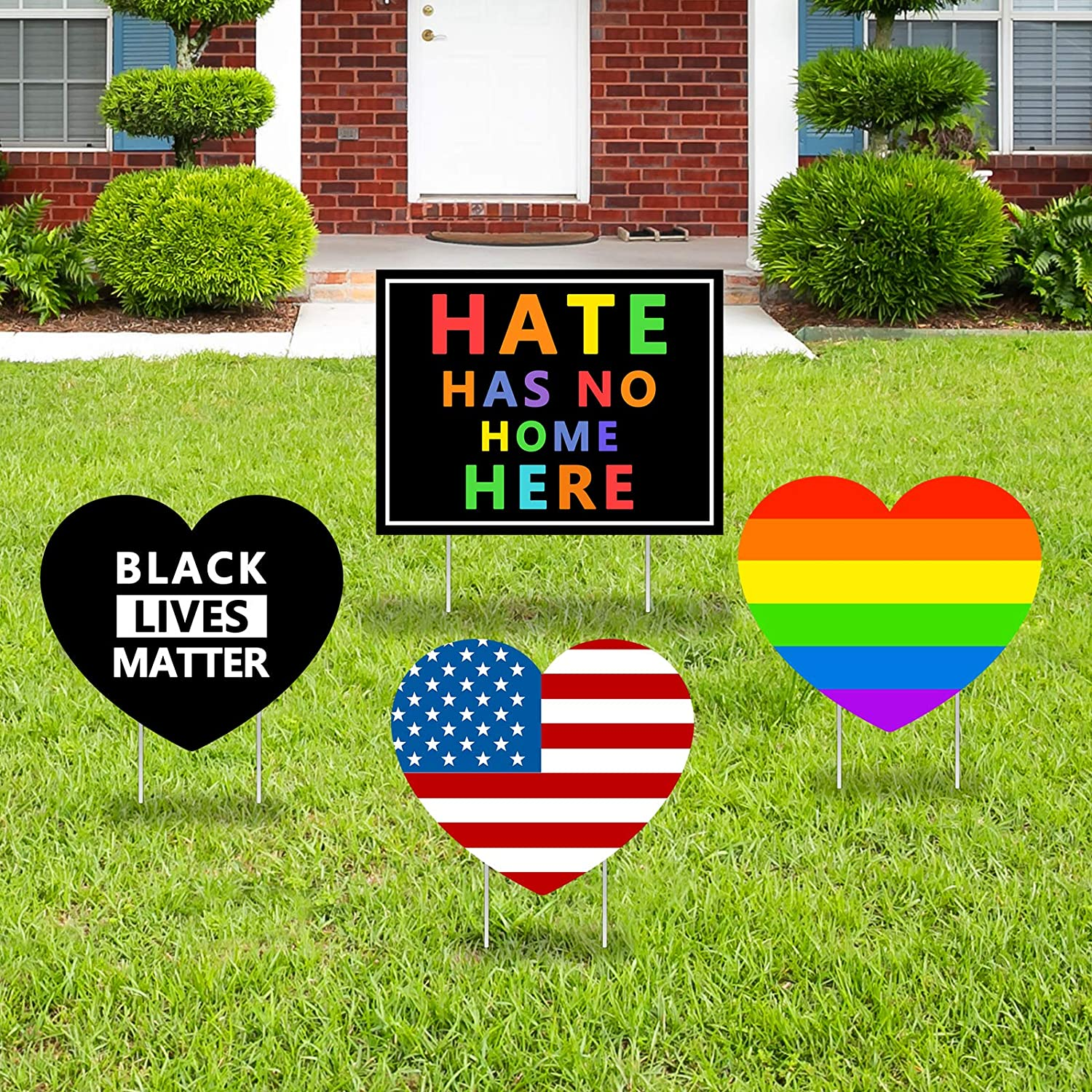 Greatingreat Hate Has No Home Here Yard Sign with Stakes-Black Lives Matter, Human Equality Yard Signs Weatherproof, Fade Resistant Ink-4PCS