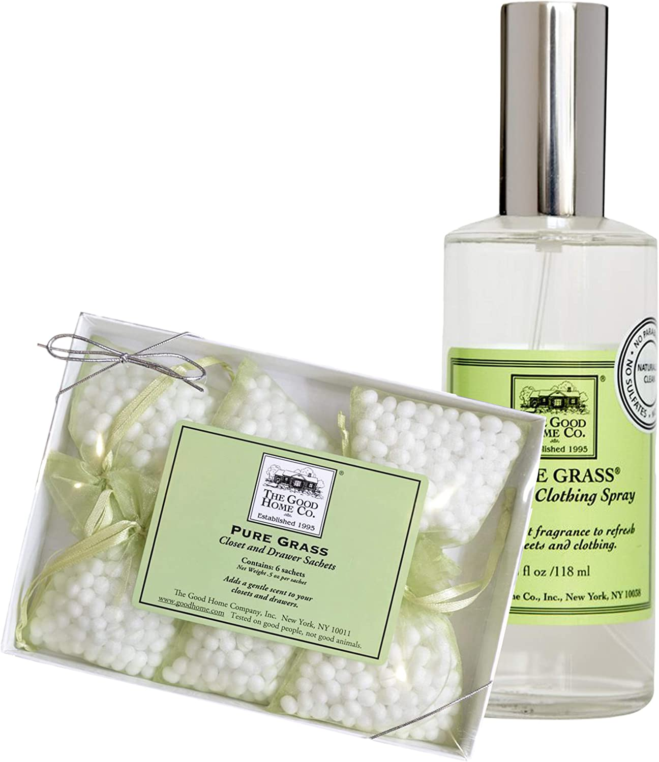 The Good Home Sheet and Clothing Linen Spray 4 oz, Closet & Drawers Scented Sachets 0.5 oz Pure Grass, Improves Sleep, Refreshes Clothes and Linen All-Natural Light Aromatic Scented Freshener