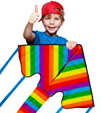 Huge Rainbow Kite For Kids And Adults - Eye Catching Bright Colours - Very Easy To Fly - Great for Beginners - Comes with String and Handle