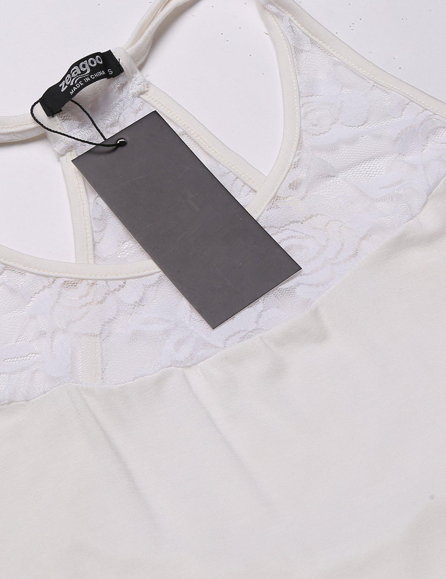 Mofavor Women's Sleeveless Crochet Lace Camisole Vest Halter Racerback Tank Top,White,Large by Mofavor (Image #5)