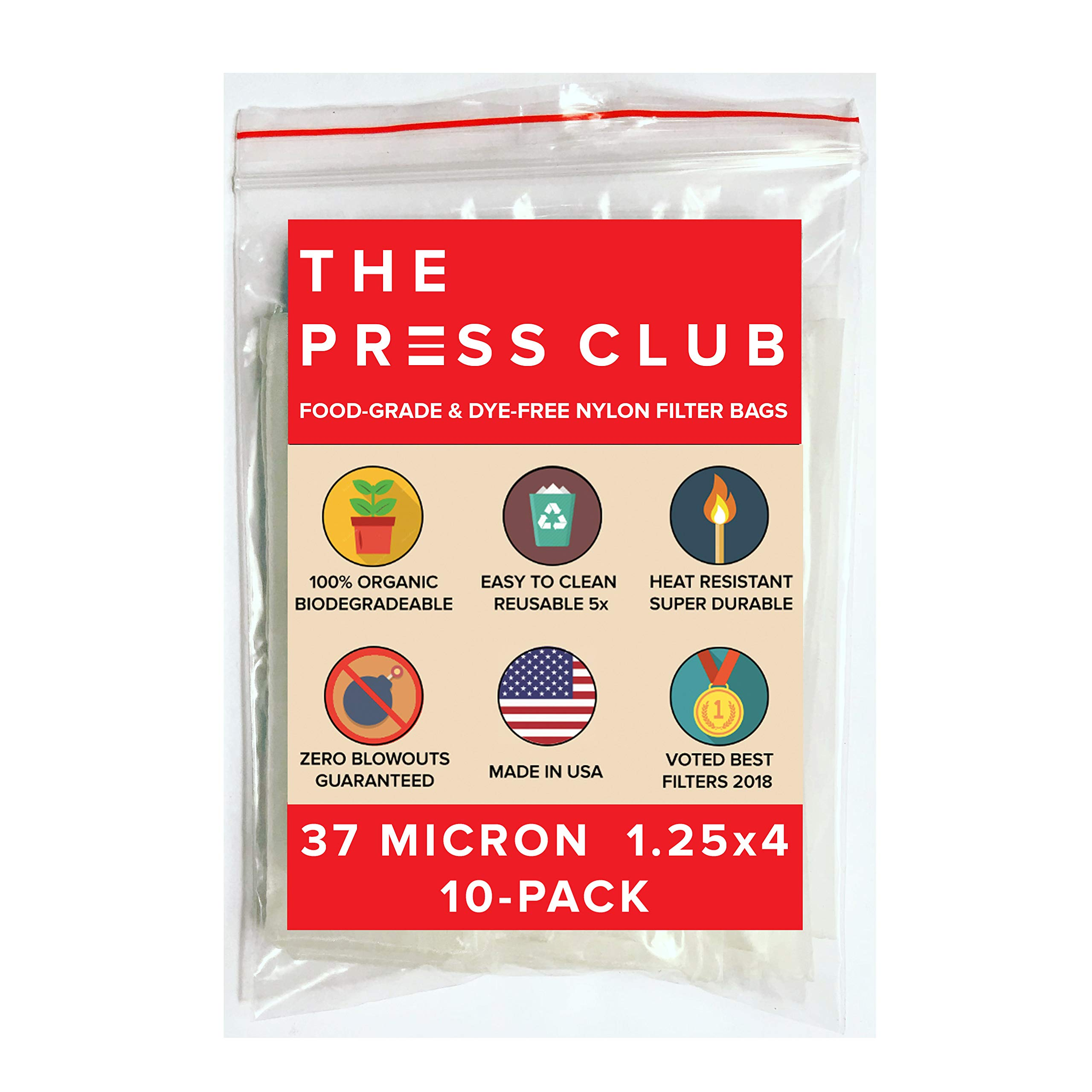 37 Micron | Premium Nylon Tea Filter Press Screen Bags | 1.25'' x 4'' | 10 Pack | Zero Blowout Guarantee | All Micron & Sizes Available