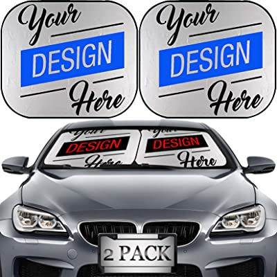 MSD Custom Windshield Sun Shade – Personalized Image or Text on Car Windshield Sunshade – Customize by Adding Your own Photo, Logo, or Message on Collapsible Auto Shades: Automotive