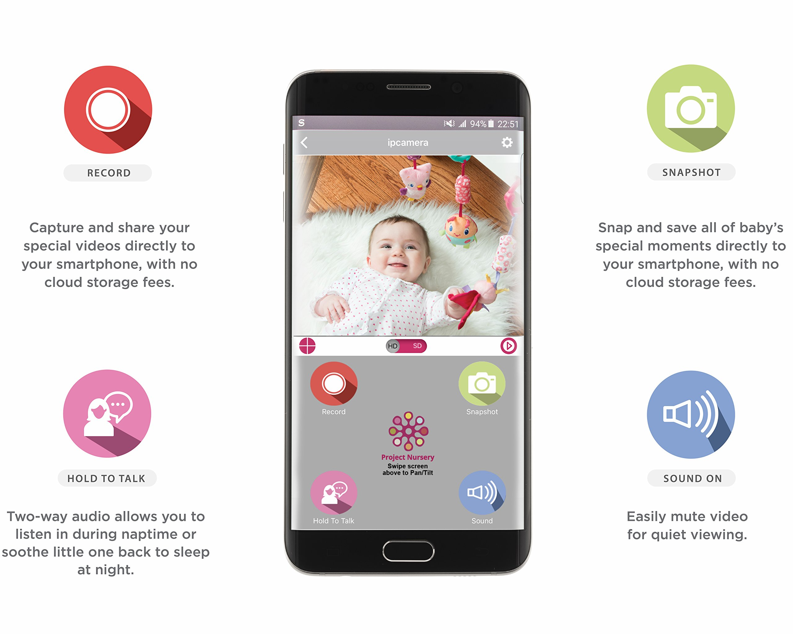 Project Nursery HD WiFi Video Baby Monitor System with Sound, Motion & Temperature Alerts & an App for iOS, Android and Any Smartphone or Tablet by Project Nursery (Image #4)