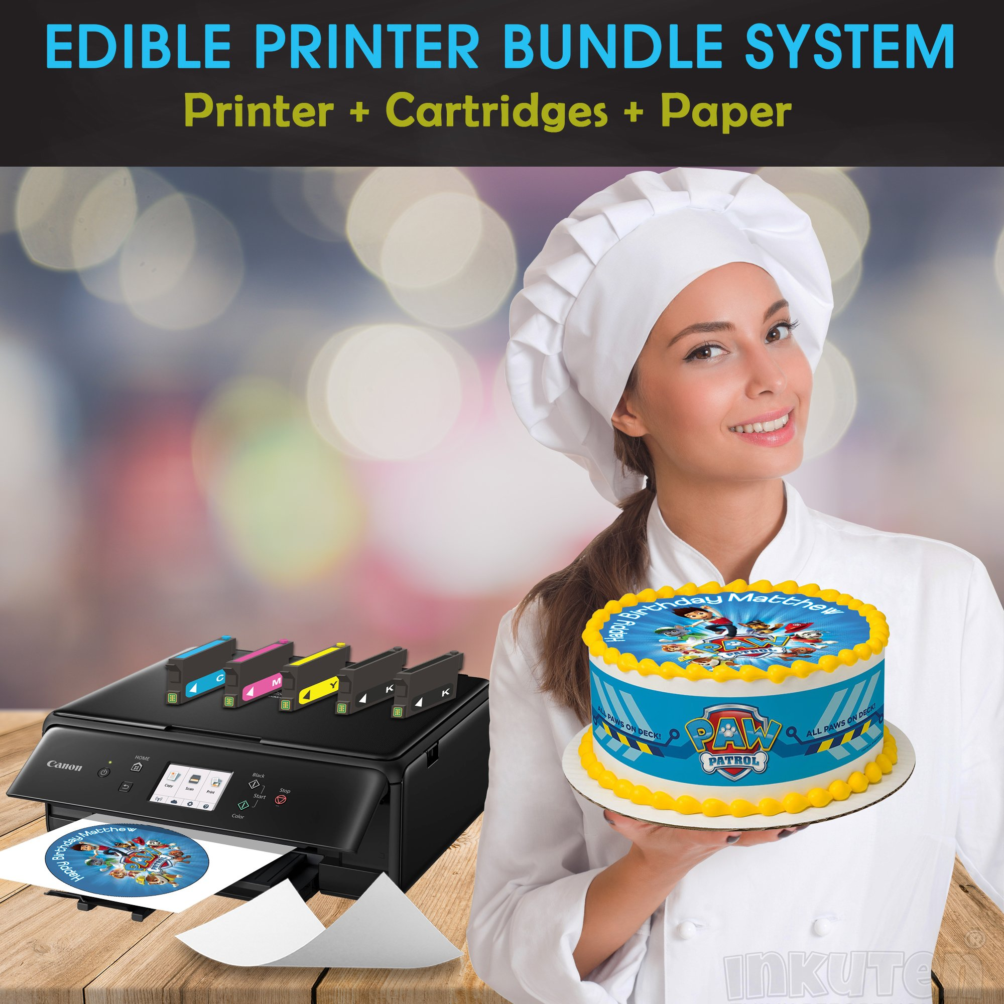 Canon Edible Printer Bundle System Comes with Edible Cartridges and 24 Frosting sheets Pack, Canon (Wireless + Scanner), Best Edible Image Printer, Edible Printer For Cakes By INKUTEN