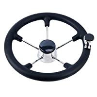 Amarine-made 13-1/2 Inch Boat Marine 5 Spoke Destroyer Steering Wheel with Black Foam Grip and Knob