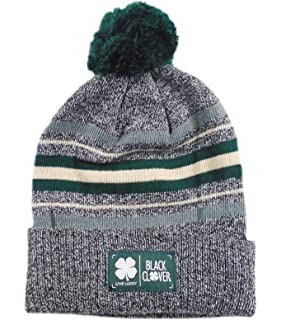 142cf238ea0b6 Black Clover New Live Lucky Tracks Heather Grey Green Winter Golf Beanie Hat