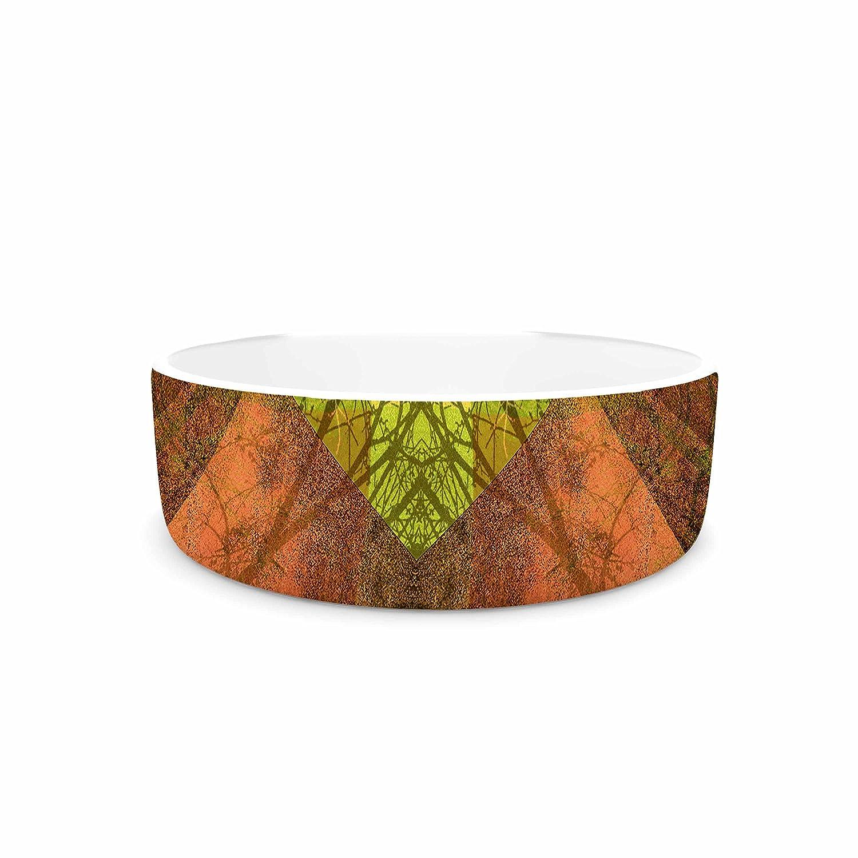 KESS InHouse Pia Schneider Pattern Garden No7 Green Multicolor Mixed Media Pet Bowl, 7