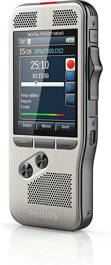 Philips Dpm7800 Digitales Diktiergerät Schiebeschalter 2 Mikrofone Farbdisplay Diktiersoftware Speechexec Pro Edelstahl Anthrazit Bürobedarf Schreibwaren