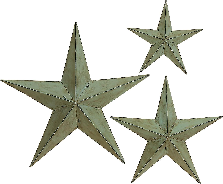 "Rustic Metal Stars 2/"" 3 piece package of mini stars"