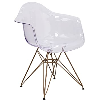 Amazon.com: Flash Furniture Alonza Series Transparent Side Chair With Gold  Base: Kitchen U0026 Dining
