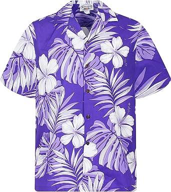 Pacific Legend | Original Camisa Hawaiana | Caballeros | S - 4XL | Manga Corta | Bolsillo Delantero | Estampado Hawaiano | Flores | Púrpura: Amazon.es: Ropa y accesorios