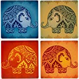 Planet Ethnic Colorful Modern Elephant Designer Ceramic Coaster Set (4 coasters, each almost 4 X 4 inches) with matching wooden coaster holder.