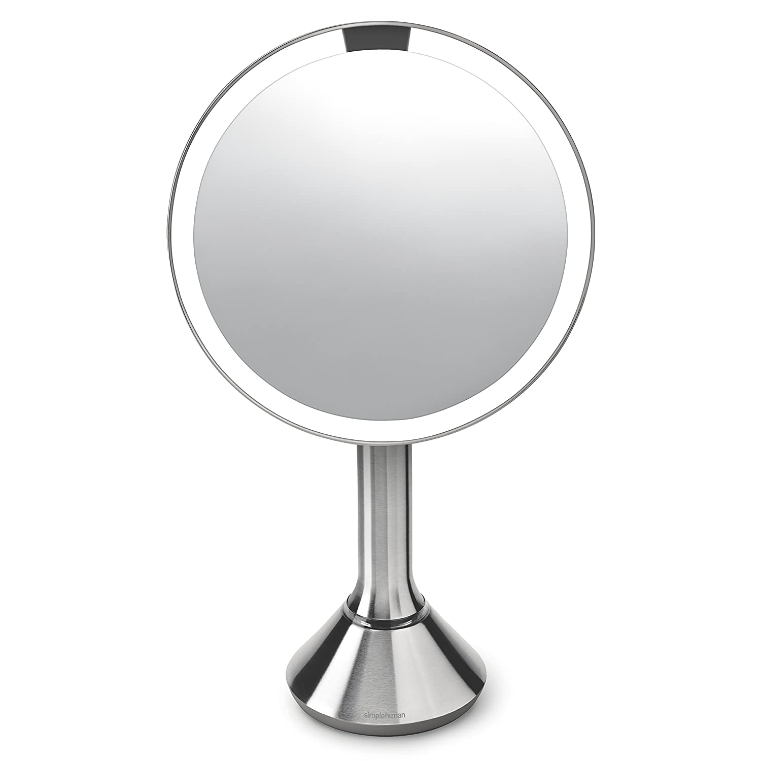 "simplehuman Sensor Lighted Makeup Vanity Mirror, 8"" Round with Touch-Control Brightness, 5X Magnification, Brushed Stainless Steel, Rechargeable and Cordless"