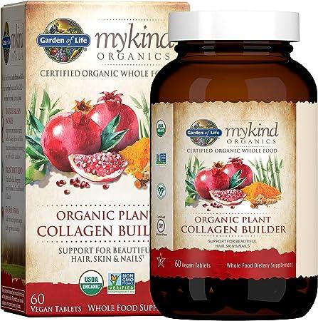 Garden of Life Vegan Collagen Builder - mykind Organics Organic Plant Collagen Builder - Vegan Collagen Builder for Beautiful Hair, Skin and Nails, 60 Tablets, Vegan Collagen Support Supplements