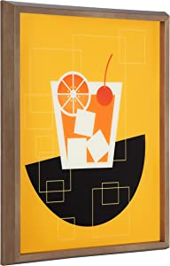 Kate and Laurel Blake Old Fashioned Cocktail Framed Printed Glass Wall Art by Amber Leaders Designs, 16x20 Dark Gold, Chic Mid-Century Wall Decor