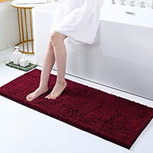 Smiry Luxury Chenille Bath Rug, Extra Soft and Absorbent Shaggy Bathroom Mat Rugs, Machine Washable, Non-Slip Plush Carpet Runner for Tub, Shower, and Bath Room(17''x47'', Wine Red)