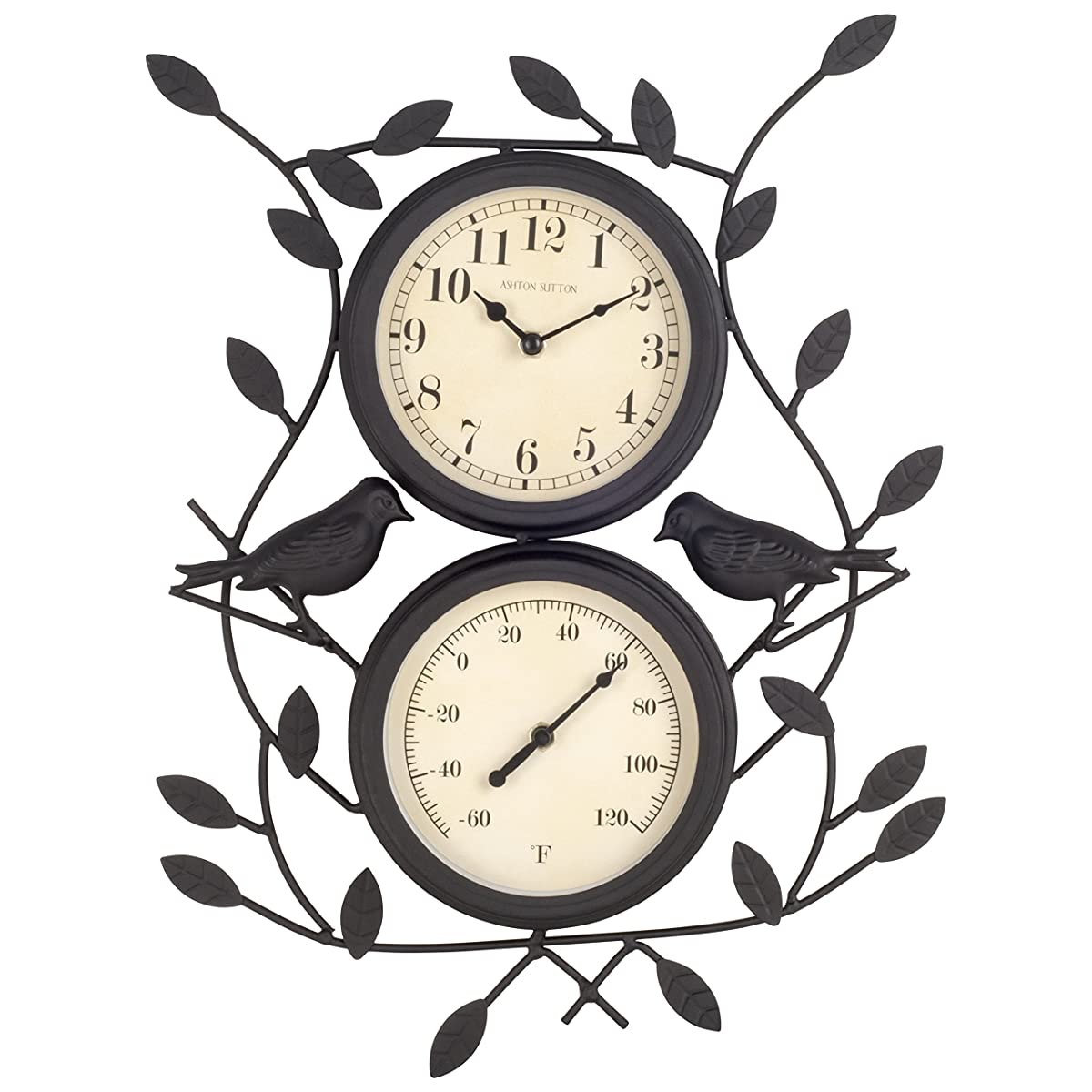 Ashton Sutton H308-15F Bird Wall Clock and Thermometer