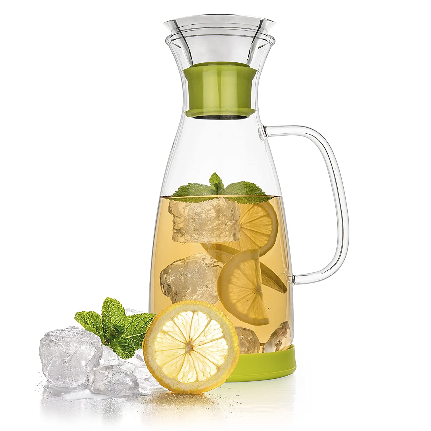 Tealyra - Glass Carafe - 1200ml - Drip-free - Borosilicate Water Pitcher Jug Infuser - Hot and Iced Tea Maker - Coffee Juice Beverage - Decanting and Serving Wine - Lime Base and Lid - 40-ounce COMINHKPR140860