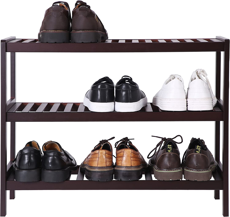 3-Tier Shoe Organizer,Utility Storage Shelf Rack 3-Shelf Shelving Unit,for Entryway Hallway Bathroom Living Room and Corridor Brown UBCB03C Storage Shelf SONGMICS Bamboo Shoe Rack Bench