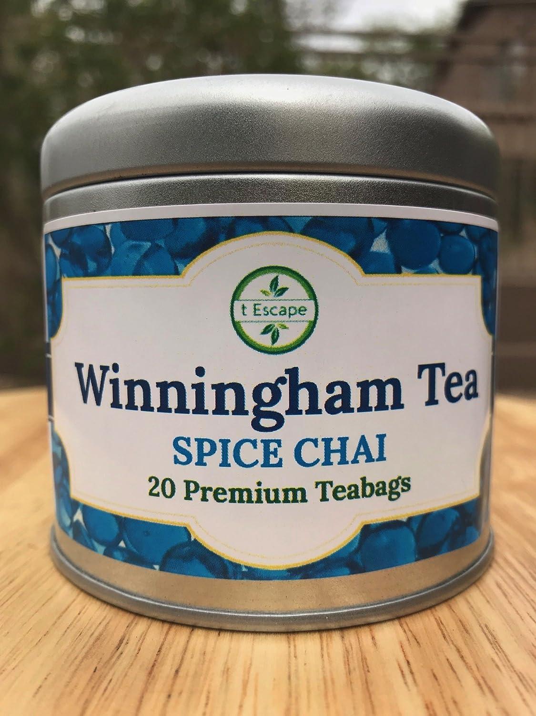 Winningham Tea - Premium Spice Chai 20 Tea Bags - Drink Hot or Cold- All Natural, Vegan, Gluten Free, Kosher Sweet Spiced Black Tea