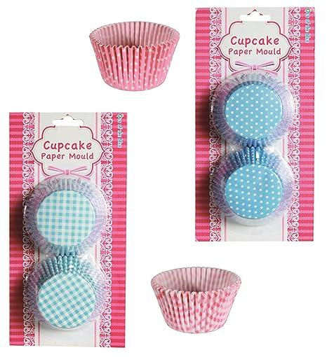 4 x 60 Muffin y cupcake Moldes Papel en Juego, Color Rosa Y Azul Con