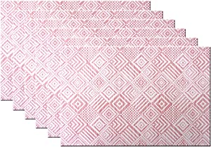 Bright Dream Placemats Washable Easy to Clean PVC Placemat for Kitchen Table Heat-resistand Woven Vinyl Hard Table Mats 12x18 inches Set of 6 (Red+White)
