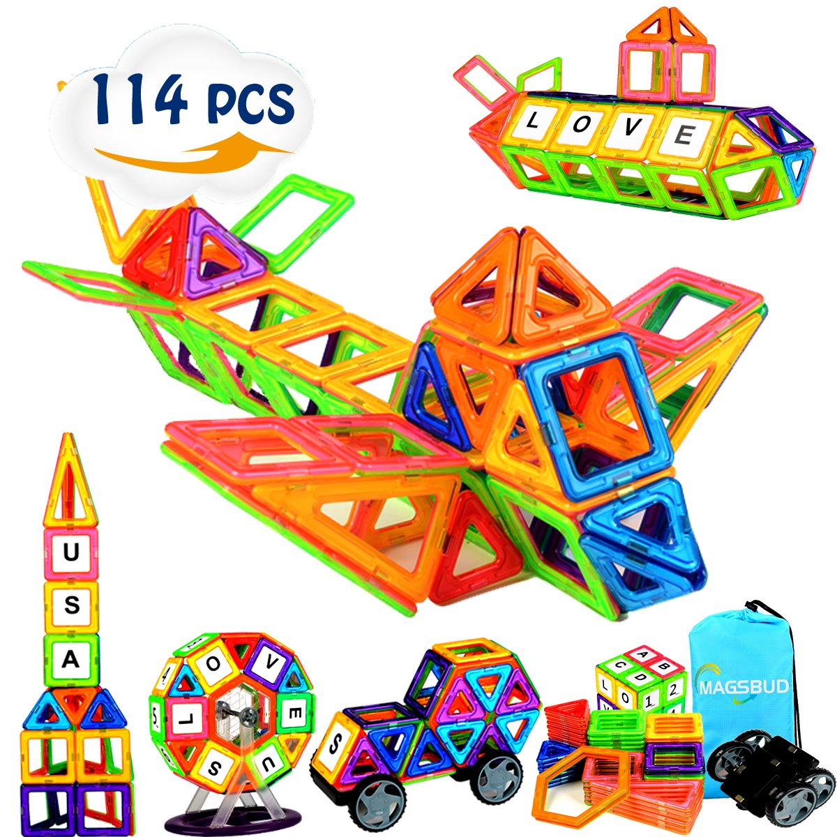 Magsbud Magnetic Blocks, 114 Pieces Colorful Magnetic Building Blocks for Kids, Educational Magnetic Construction Tiles Sets for Boys and Girls Review
