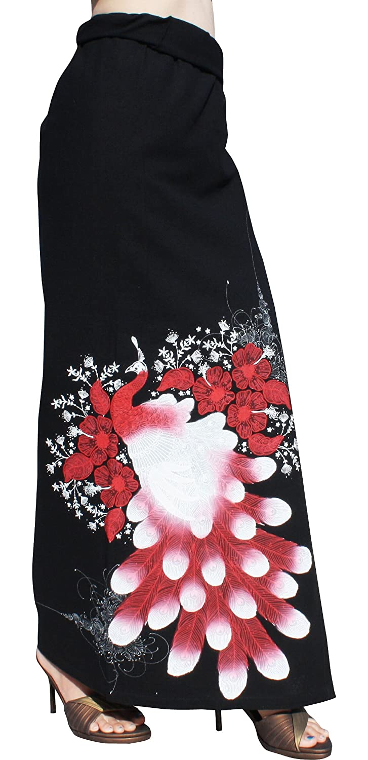 Black Red Raan Pah Muang Thai Cotton Wrap Skirt with Large Hand Painted Peacock Art