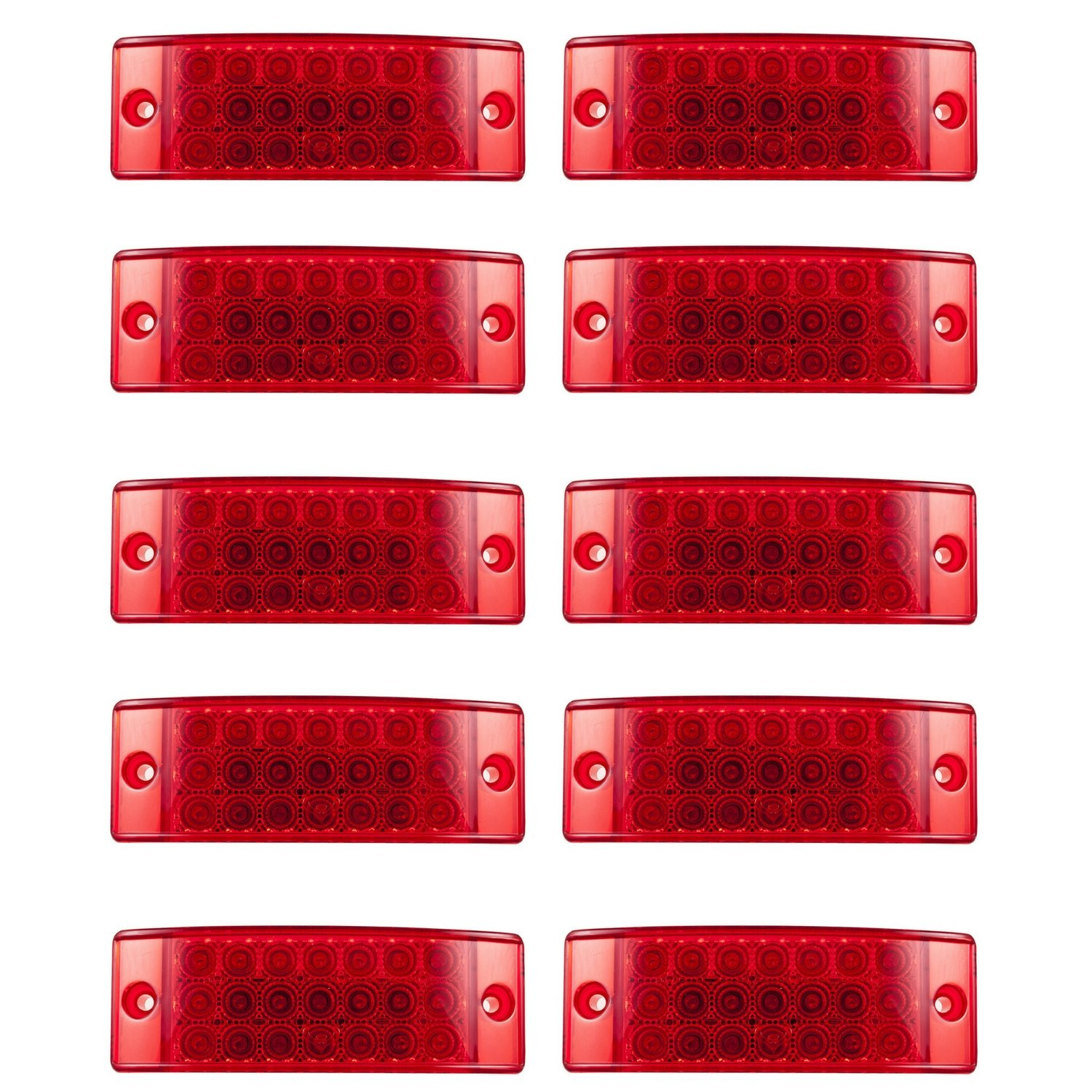 [ALL STAR TRUCK PARTS] Qty 10 - Red 21 LED Side Marker Clearance Stop Turn Tail Brake Lights 2''x6'' Rectangle 12V Truck Trailer Camper