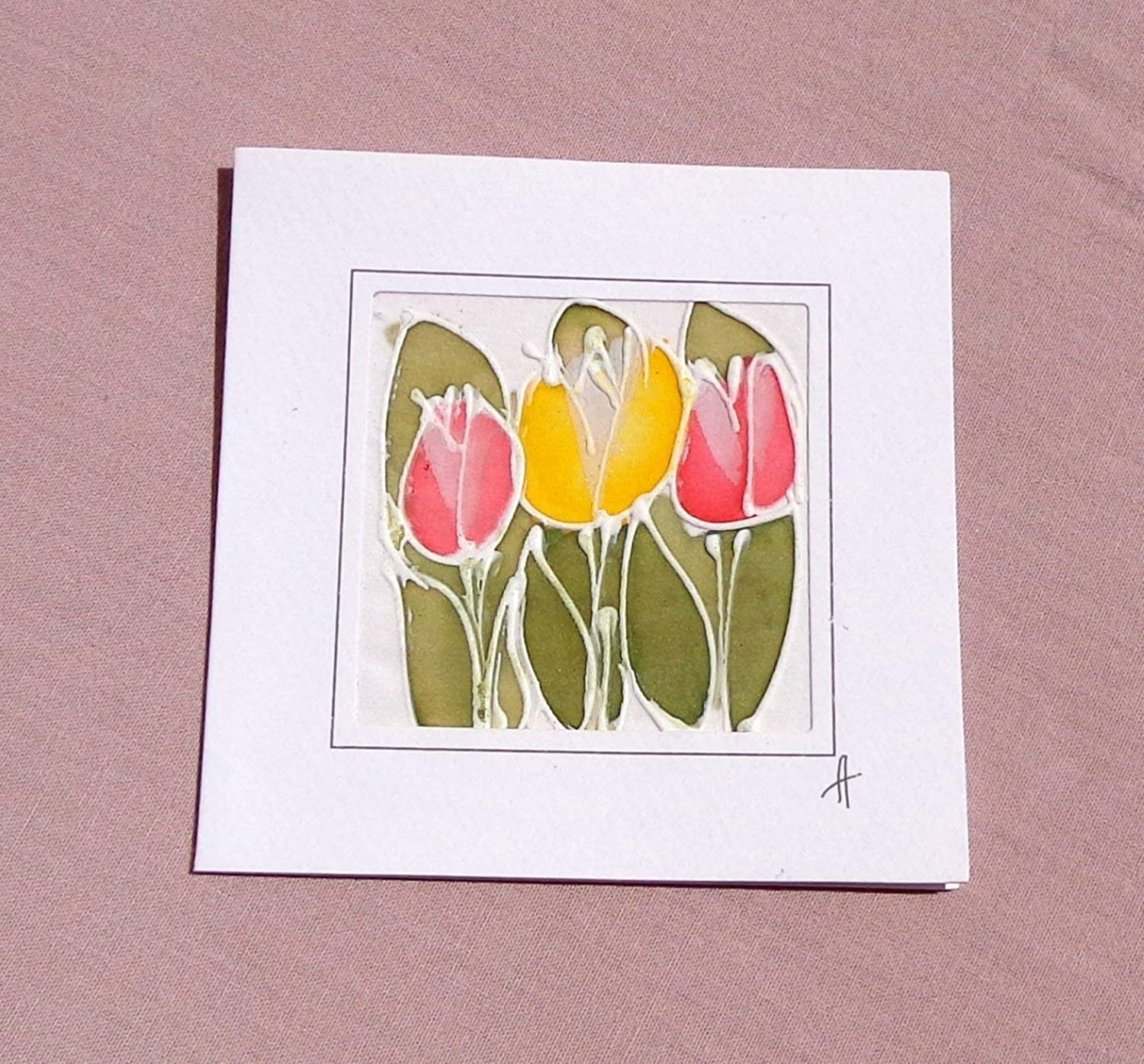 f4bcd848ea63d Amazon.com: Red Tulips Card, Silk Painting, Greetings Card, Tulip ...