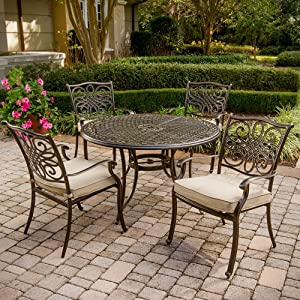 """Hanover TRADITIONS5PC Traditions 5-Piece Deep-Cushioned Dining Set Outdoor Furniture, 48"""", Tan"""
