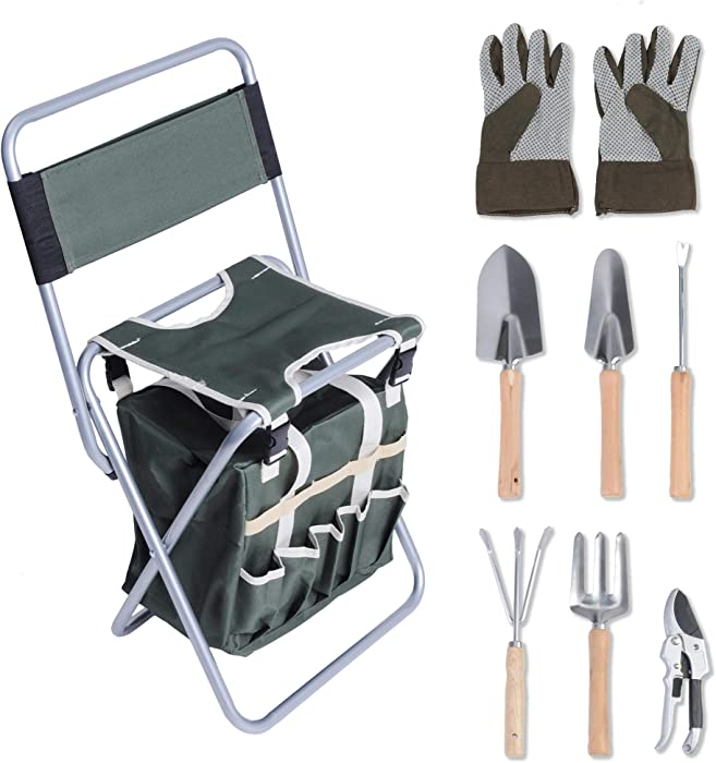dporticus 9 Piece Garden Tools Set Heavy Duty Folding Hand Tools Kit w/Detachable Storage Tote Bag and Collapsible Stool Seat with Backrest,Great Gift for Gardeners
