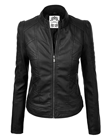 Made By Johnny Mbj Womens Faux Leather Zip Up Moto Biker Jacket With