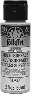 product image for FolkArt Multi-Surface Metallic Paint in Assorted Colors (2 oz), Metallic Platinum