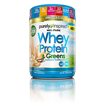 Purely Inspired 100% Pure Whey & Greens, Pure Whey Protein Powder, Vanilla,