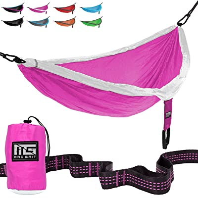 Mad Grit Insane Deal! Double Parachute Camping Hammock with Straps & Carabiners : Garden & Outdoor