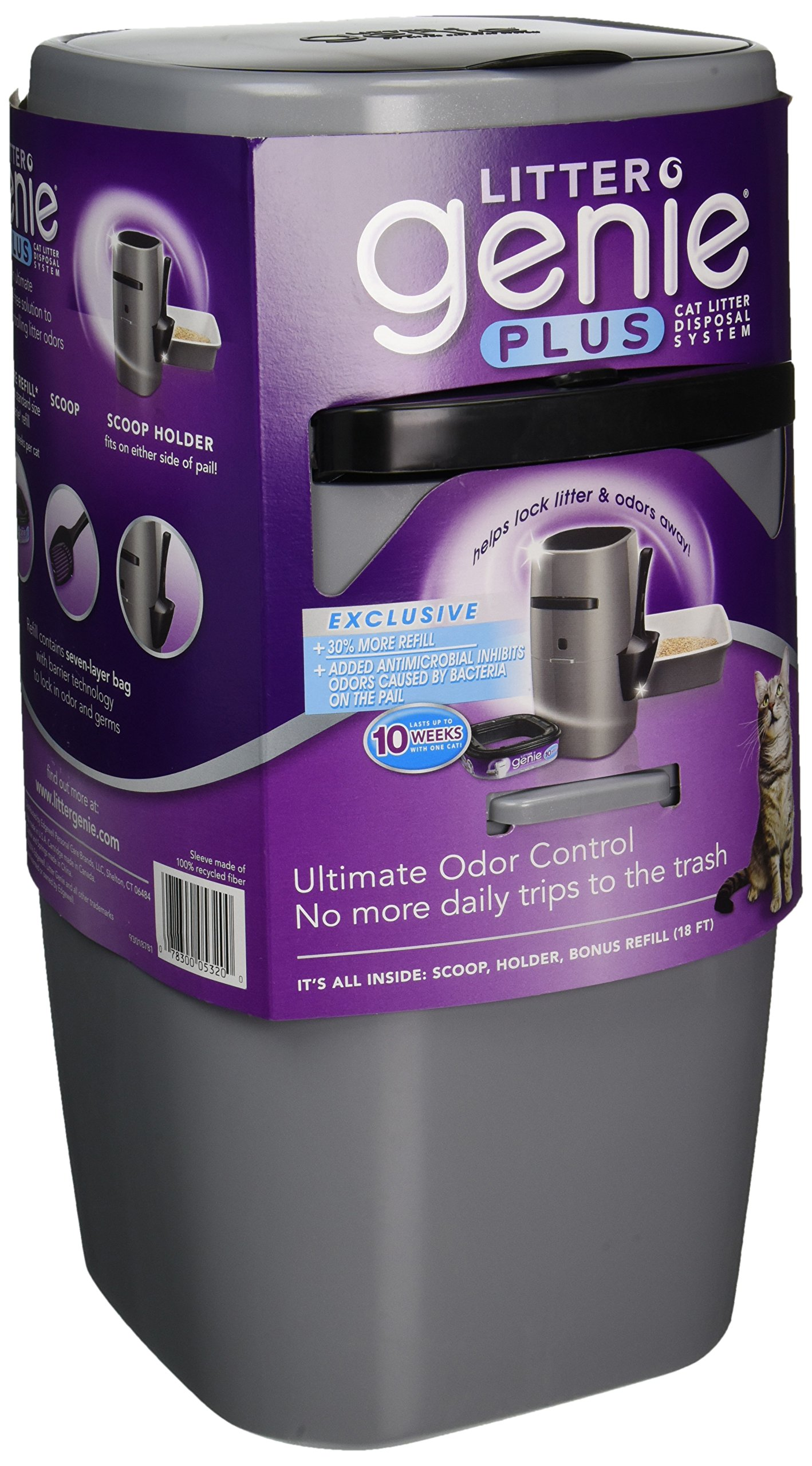 Litter Genie Plus Ultimate Cat Litter Odor Control Pail - Silver by Litter Genie (Image #1)