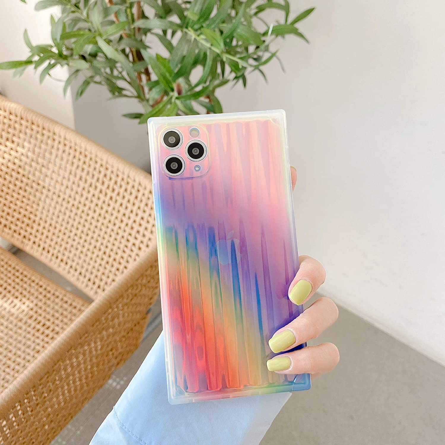 """Cocomii Square Holographic Clear iPhone XR Case, Slim Thin Glossy Soft Flexible TPU Silicone Rubber Gel Shiny Gradient Reflection Fashion Bumper Cover Compatible with Apple iPhone XR 6.1"""" (Rainbow)"""