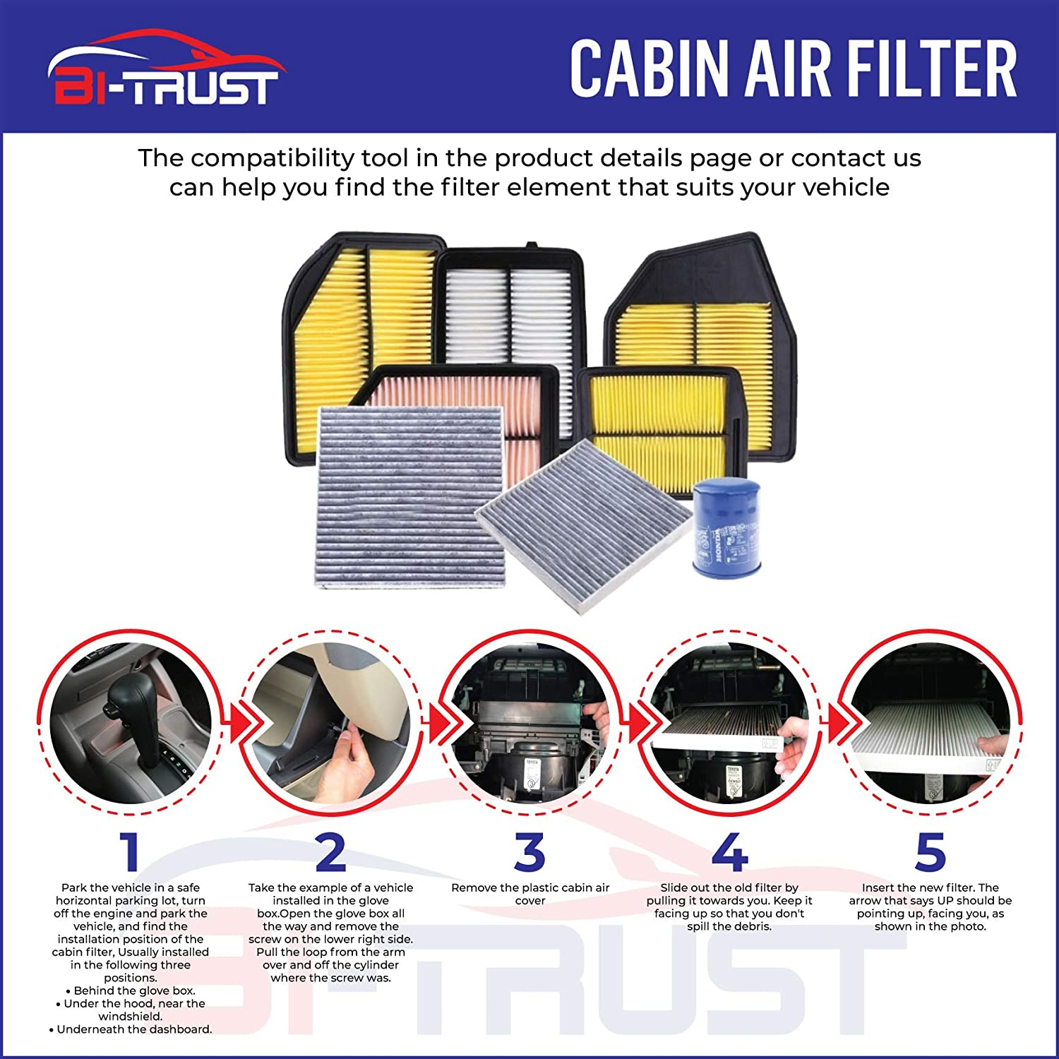 Replacement for Nonwoven Fabric Cabin Air Filter for Jeep Wrangler 2011-2018 3.6l 3.8L Bi-Trust KLC00009 CF11777