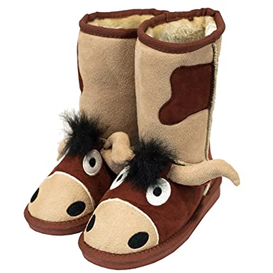 7e7a00de7c60 Lazy One Kids Unisex Bull Toasty Toez Slippers Kids  Amazon.co.uk  Clothing