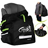 Stockyfy Car Seat Travel Bag with Pouch – Black – Adjustable Straps Backpack – Gate Check Bag for Car Seats for Air Travel wi