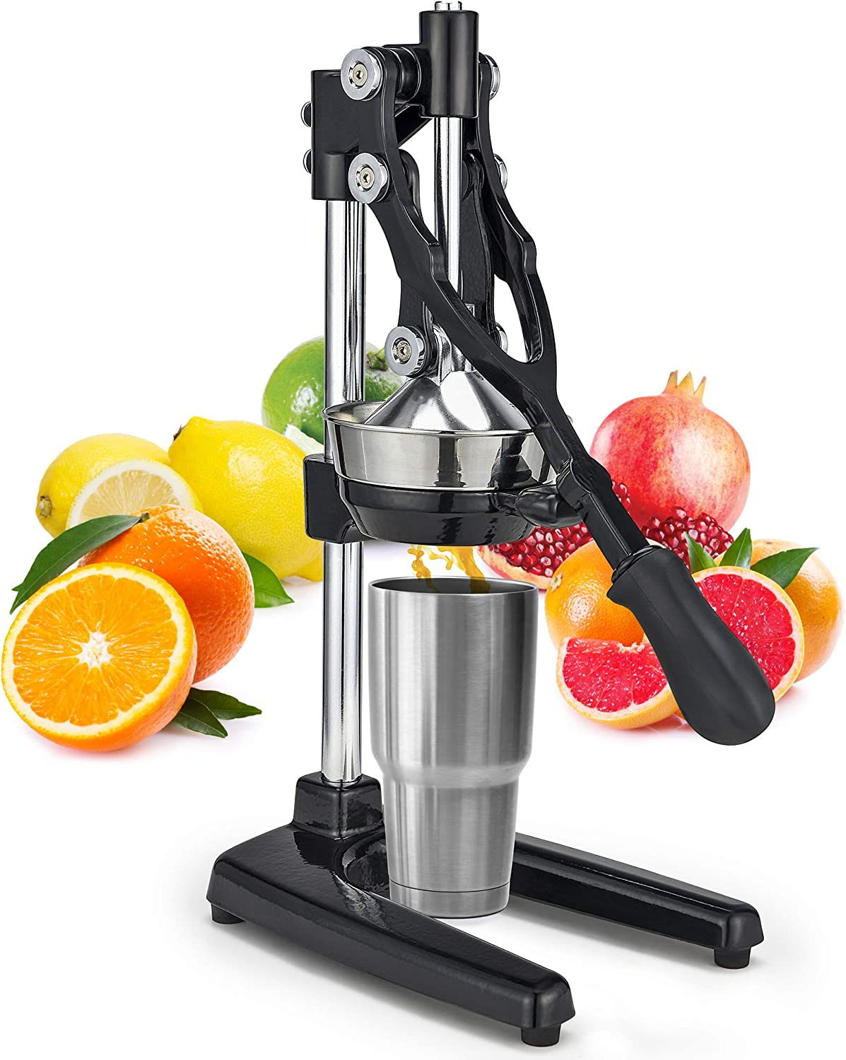Zulay Extra Tall Orange Juicer - Manual Orange Juice Squeezer, Fits Tumblers, Tall Glasses and Cups Easily, Lemonade Stands Stand Juicer